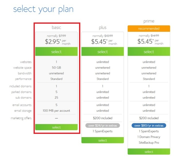 Select a Bluehost Hosting Plan