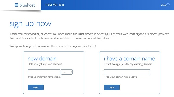 Enter a new domain or select I have a domain name in the bluehost sign up now box.
