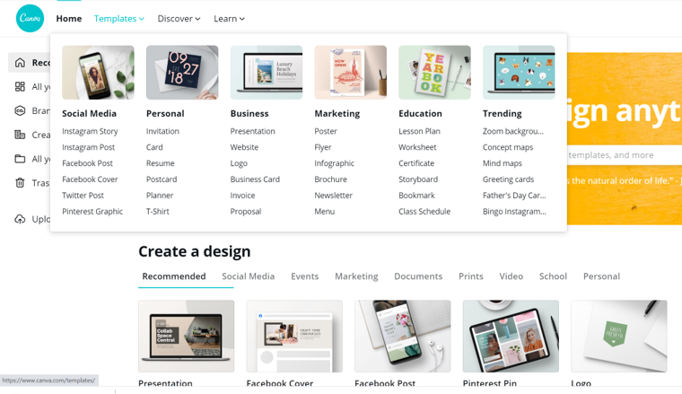 Create Graphics from these Canva Templates