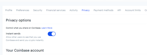 How to Turn on Instant Sends in Coinbase to Receive Crypto
