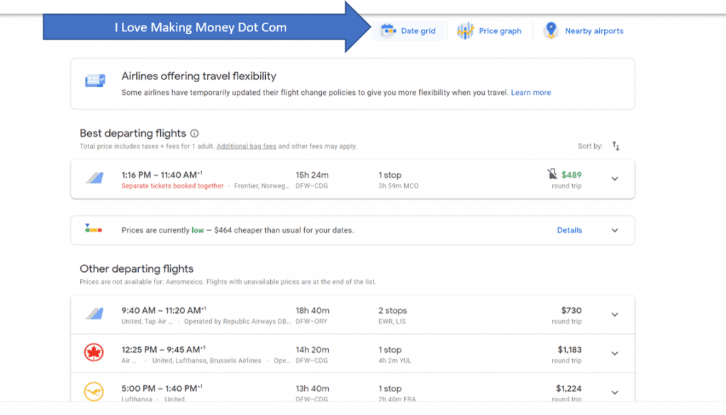 Travel Hack - Click on the Date Grid to Pull Up Cheapest Flights by Day