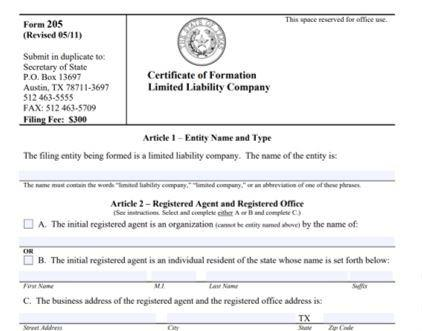 Certificate of Formation to form LLC