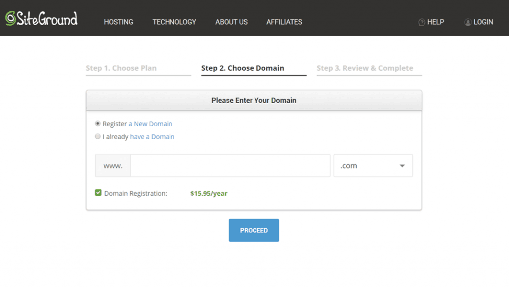 How to register a domain name with Siteground
