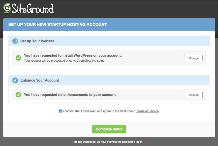 Siteground hosting dashboard to setup your website