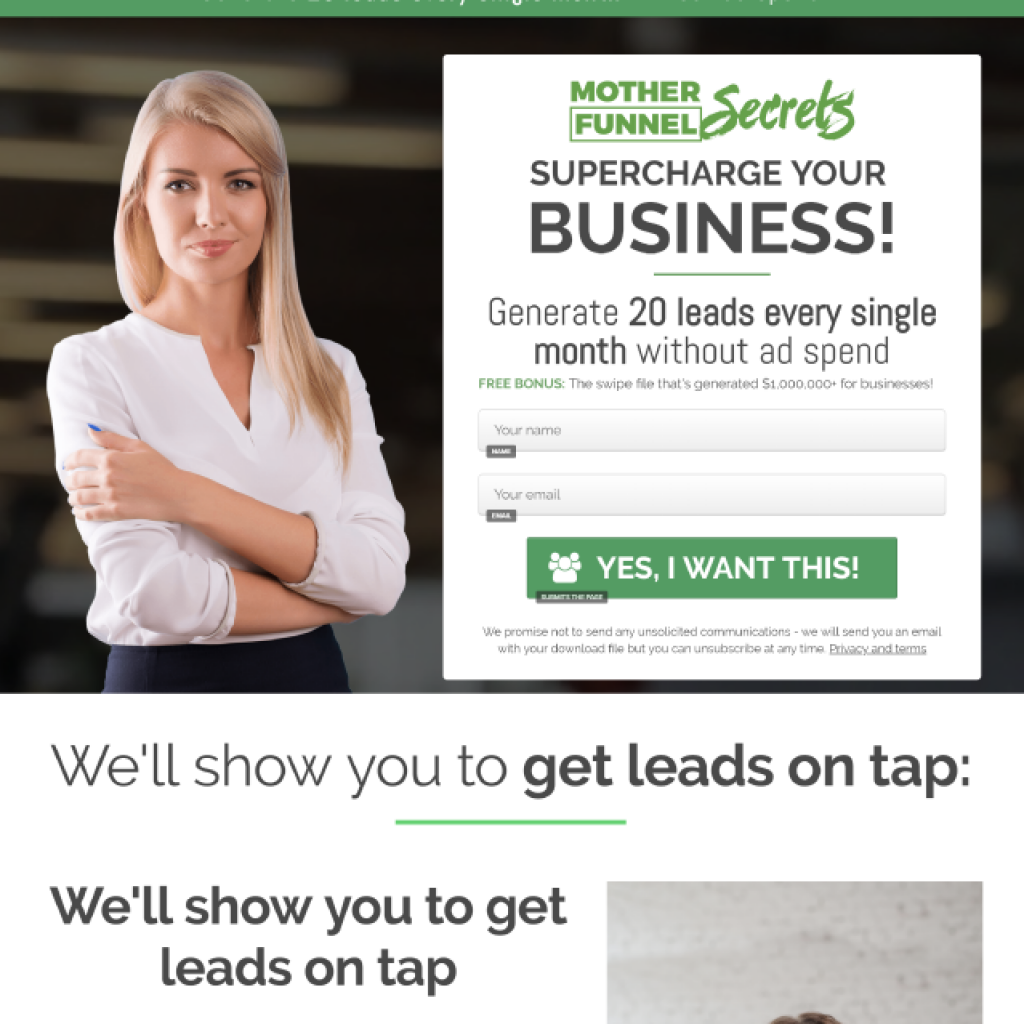 Opt In Page Template inside ClickFunnels