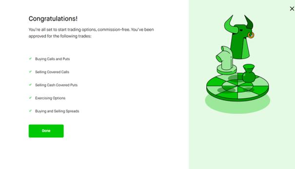 Success page on how to trade options inside Robinhood (demo)