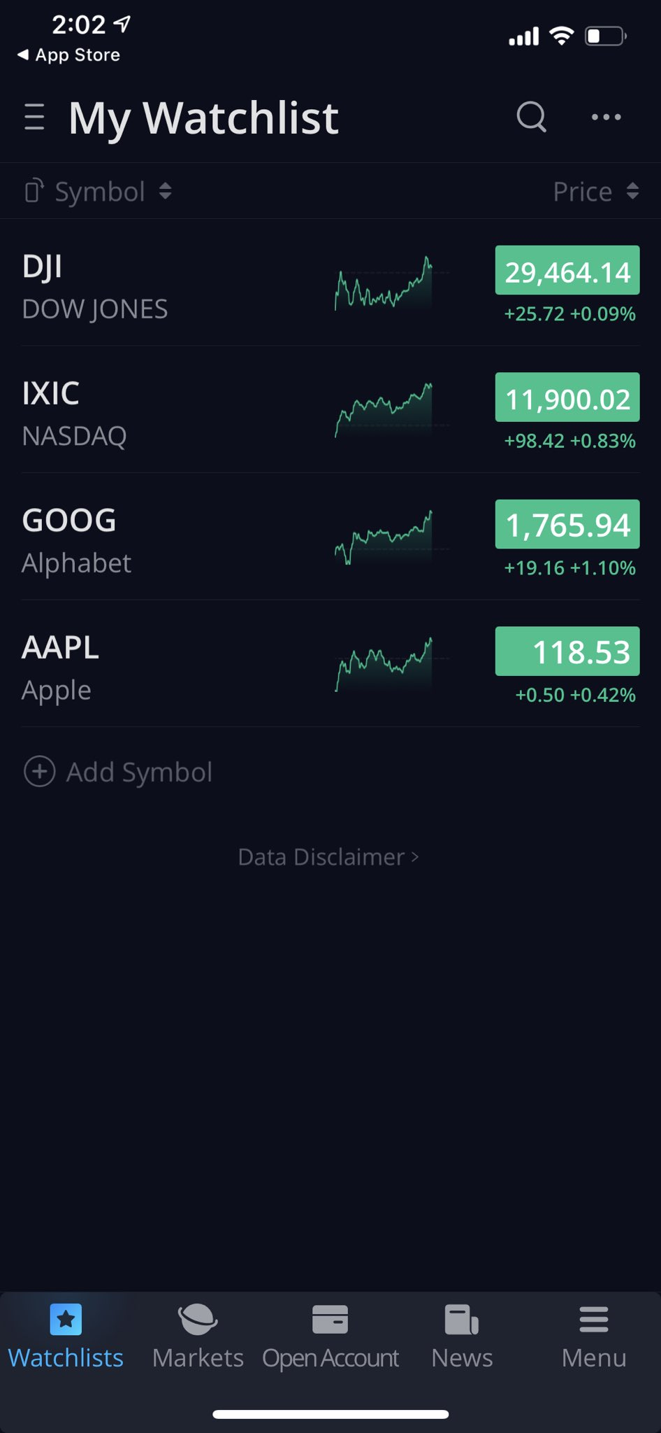 Webull App - Markets (demo)