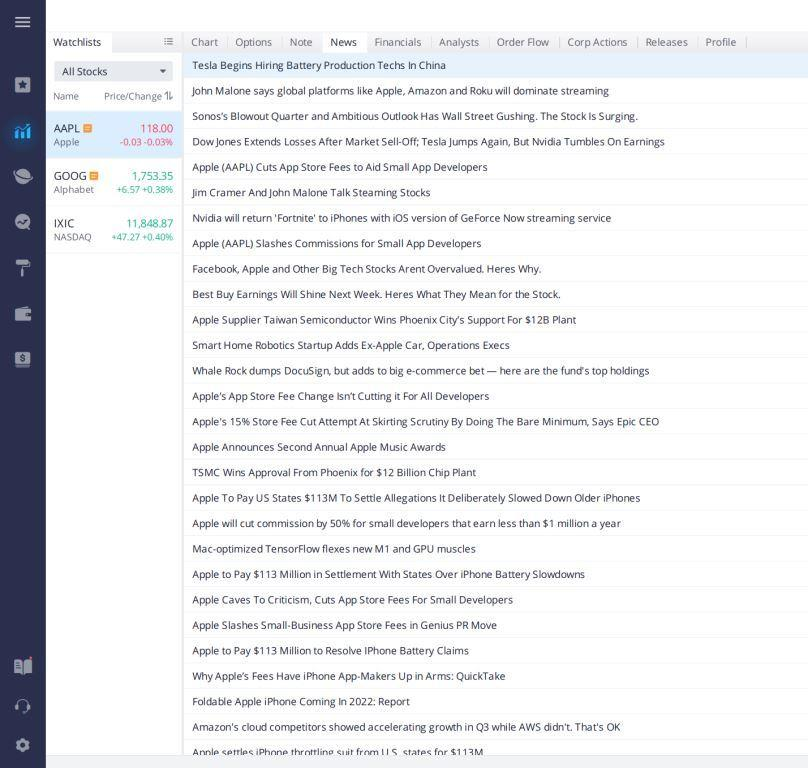 News Alerts inside Webull's Desktop App