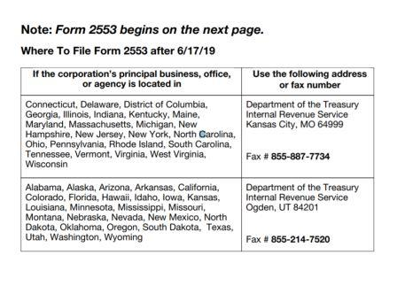 Form 2553 - Address and Fax Number Where to File Form 2553
